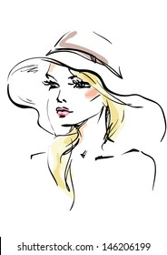 The young woman in a hat