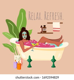 Young woman having a bubble bath and doing mask facial procedure. Self Care Girl. Flat template for beauty products, card, poster, banner, print for t-shirt, pin, badge, patch. Relax Refresh quote.
