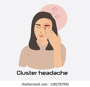 Young woman having eye pain and headache. Cartoon style vector illastration isolate on background.