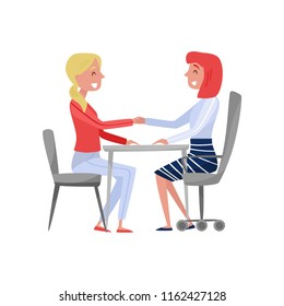 Young woman having job interview with HR specialist, jobseeker and employer sitting at the table and holding hands vector Illustration on a white background