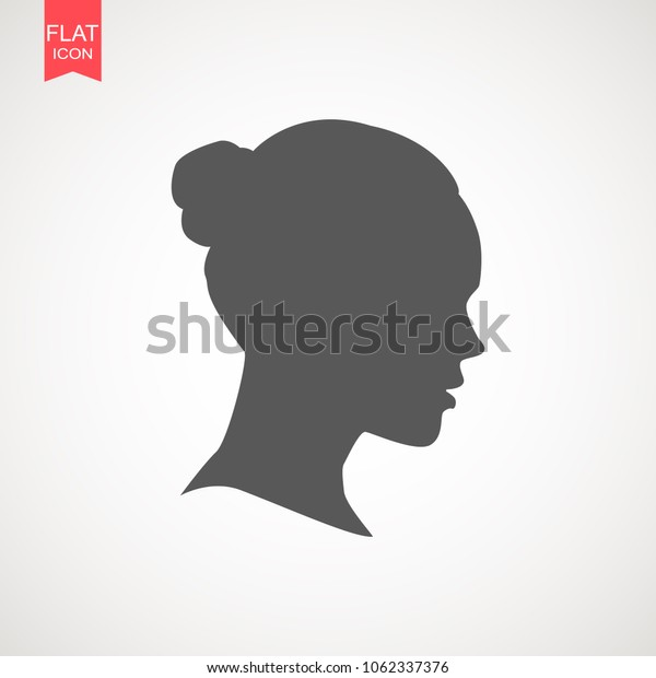 Young woman head vector silhouette isolated on white background. Portrait of woman in profile , isolated silhouette - vector illustration