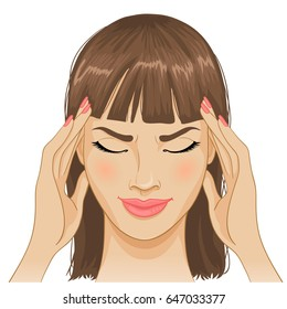 Young woman with headache, vector image