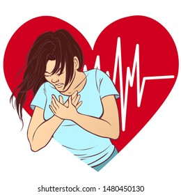 A young woman with a heart attack, vector illustration isolated on white.