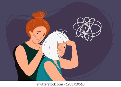 Young woman helps eldery gray-haired woman with dementia and bewildered thoughts in her mind. Concept of memory loss anf fight with amnesia and mental disorder. Vector illustration.