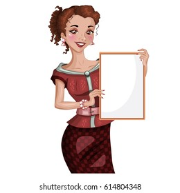 Young woman holding a board. Vector character. Isolated.