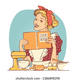 Young woman holding cook book in her hands on kitchen room.Reto style color illustration on white background