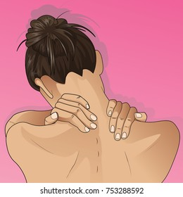 Young woman holding hands on neck in back pain.