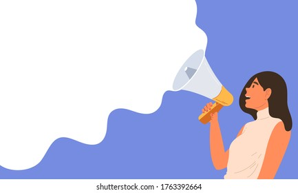 Young woman holding megaphone and speaking on blue and white blank background. Concept of announcement, advertising, promotion, business, demonstration, empty template. Flat vector illustration