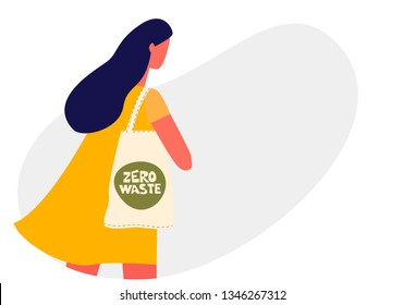 Young woman holding reusable grocery bag. Zero waste concept Vector illustration isolated of white background