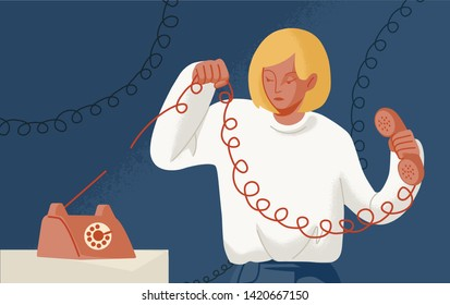 Young woman holding telephone with torn wire. Concept of break up, cessation of communication or connection, disconnect, breaking of unnecessary social ties. Flat cartoon colorful vector illustration.