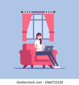 Young woman in home clothes sitting on the chair and using laptop in living room vector flat illustration. Girls working on laptop at home. Freelance, self employed, freedom.