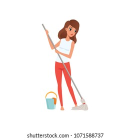 Young woman housewife cleaning the floor with a mop and a bucket of water, people activity, daily routine vector Illustration on a white background