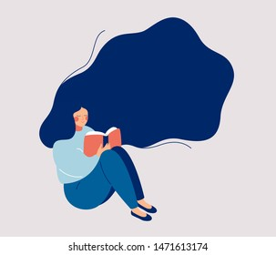 Young woman with hovering hair holds open book. Dreaming Girl sits on the floor and reads a book. Flat character vector illustration