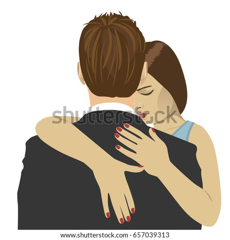 Young woman hugs the man with sad expression