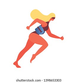 Young woman isolated on white background. Pool concept illustration for aquajogging, with sport belt flotation device equipment and goggles. Blonde character, good for aqua aerobics website