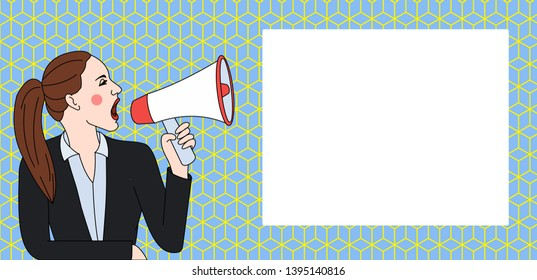 Young Woman in Jacket with Ponytail Shouting into Loudhailer with Rectangular Shape Empty Text Box Beside. Creative Background Space for Announcements and Promotions
