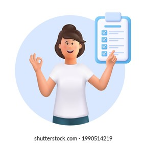 Young woman Jane points in the direction marked by a checklist. Successfully complete business assignments, time management, work planning, organization of daily goals. 3d vector illustration.