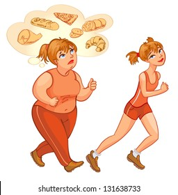 Young woman jogging. Fat woman jogging, dreams of high-calorie foods. Health and fitness. Vector illustration. Isolated on white background