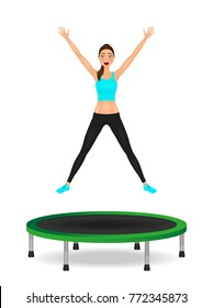 Young woman jumping on trampoline. Pretty fit girl in leggings and crop top with hands up.