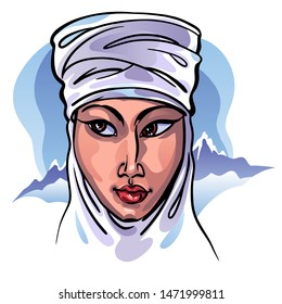 Young woman from Kazakhstan, Central Asia. Traditional ethnic Kazakh white turban headdress. Blue sky and mountains. Happy, colorful. Travel to Kazakhstan. Stock vector illustration.