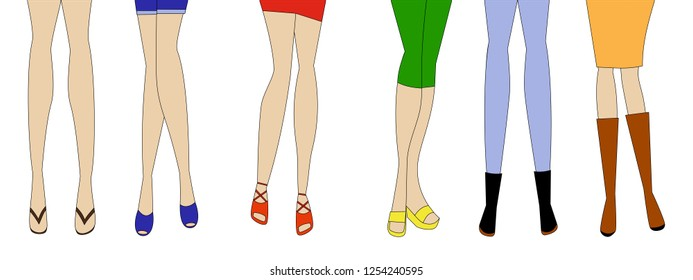 Young woman legs with different clothes