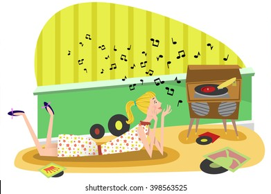 Young woman listens to music from a vintage record player while lying on a rug, records spread on the floor (Fifties retro style)