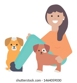young woman with little dogs adorables mascots
