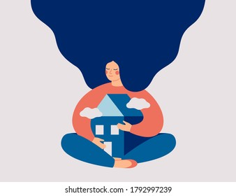 Young woman with long hair embraces her home with love and care. Stay home concept. Vector illustration