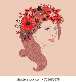 Young woman with long hair and floral wreath with heart leaves. Vector illustration on vintage pink background
