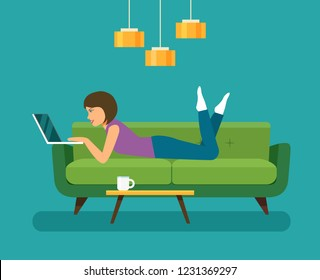Young woman looking into a laptop and lying on sofa isolated. Vector flat style illustration