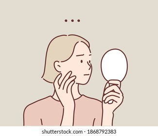 Young woman looking at mirror at home. feeling puzzled and worried. Hand drawn style vector design illustrations.