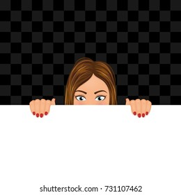Young woman looking out of the blank with copy space. Girl hiding behind the banner. Vector illustration.