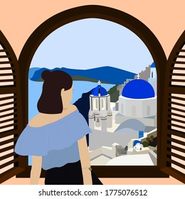 Young woman is looking out of the window at the sea. Window with view of Greece and Santorini. Concept of traveling alone and summer journey. Summer illustration of happy girl at vacation.