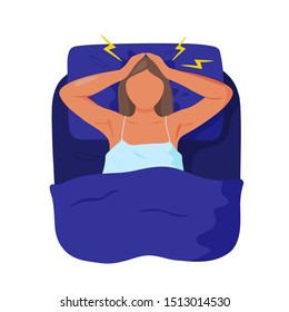 Young woman lying in bed, clutching her head and suffering from insomnia. Flat cartoon modern trendy style.Vector illustration character icon. Sleep disorder concept.