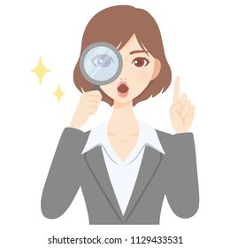 young woman with magnifying glass flat style avatar