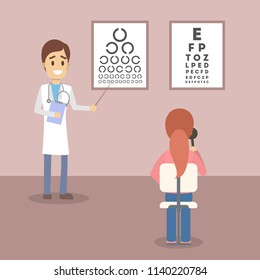 Young woman making eyes examination. Oculist standing near the eye test board and showing letters with the pointer to the patient. Vector flat illustration