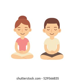 Young woman and man couple meditating in lotus pose. Cute cartoon yoga and meditation illustration.