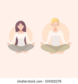 Young woman and man couple meditating with crossed legs. Relaxation, isolated people illustration.