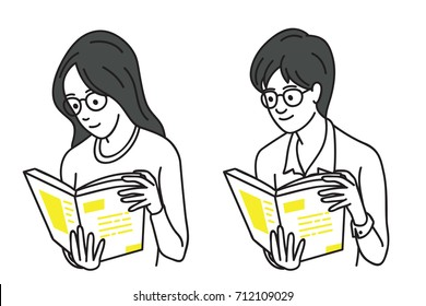 Young woman and man holding and reading book, concept of education, learning. Vector illustration character teenagers with glasses, outline, thin line art, linear, hand drawn sketch design.