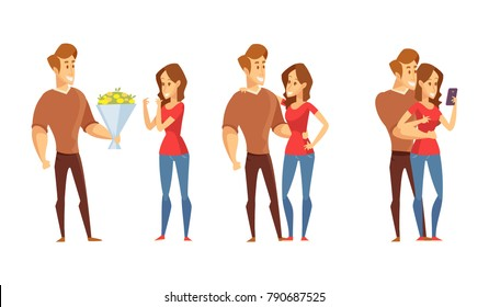 Young woman and man on a romantic date. Man gives girl bouquet of flowers. Valentine's day. Vector illustration in a flat style isolated on white.