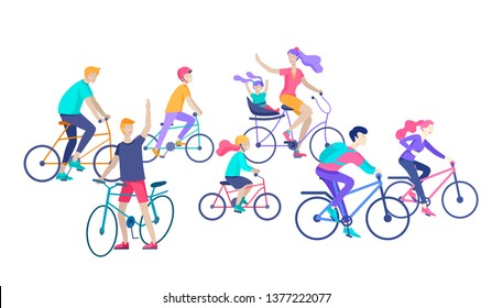 Young woman and man ride the bike, family and friends riding bicycles. Mom, dad and children on bike and cycling together. Sports outdoor activity. Cartoon vector illustration