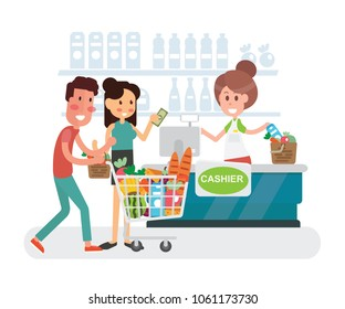 Young woman and man shopping  in supermarket