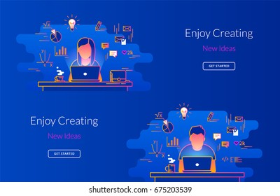 Young woman and man working with laptop at work desk. Gradient line vector illustration of student working process sitting at home. Educational background of young people learning and studying indoor