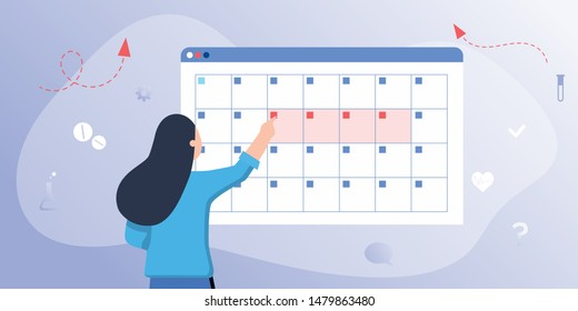 A young woman marks the date of menstruation in the online calendar. An app for tracking menstrual cycle, birth control.  makes an appointment with an online female doctor. Web site, banner template