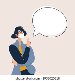 Young woman with mask and with blank speech bubble. Flat vector illustration cartoon character.