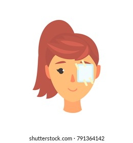 Young woman with medicine plaster patch on her eye, ophthalmology concept cartoon vector Illustration