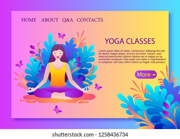Young woman meditates sitting in lotus pose.Landing page template for yoga school.