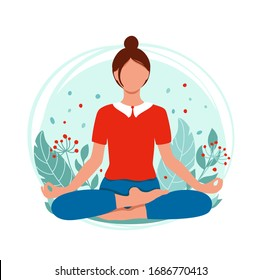 Young woman meditating and sitting in lotus on the natural background.  Concept illustration for yoga, meditation, relax and healthy lifestyle. Vector illustration in flat style