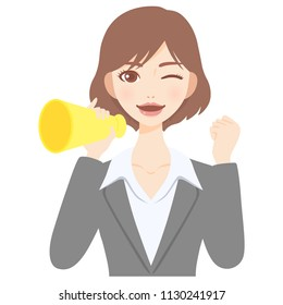 young woman with megaphone flat style avatar