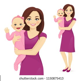 Young woman mother holding her newborn baby vector illustration isolated